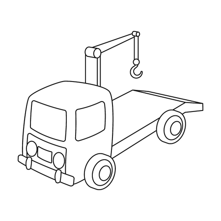 Tow truck icon in outline style isolated on white background. Parking zone symbol stock vector illustration.