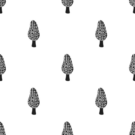 Morel icon in black style isolated on white background. Mushroom pattern stock vector illustration.