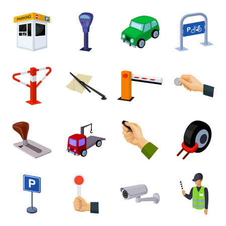 Parking zone set icons in cartoon style. Big collection of parking zone vector symbol stock illustration Ilustração