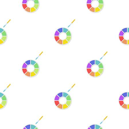 Color wheel icon in cartoon style isolated on white background. Typography pattern stock vector illustration.