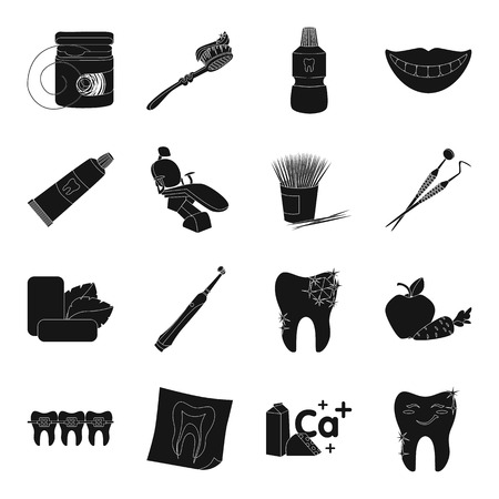 chew: Dental care set icons in black style. Big collection of dental care vector symbol stock illustration