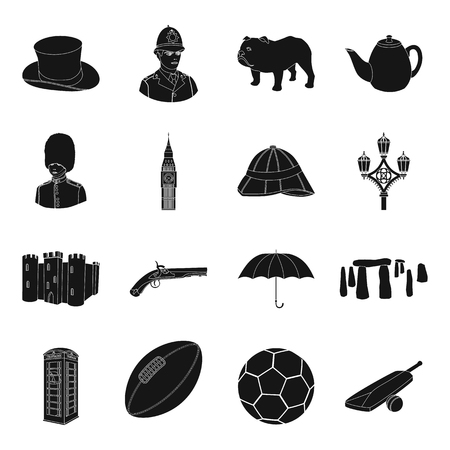 top gun: England country set icons in black style. Big collection of England country vector symbol stock illustration Illustration