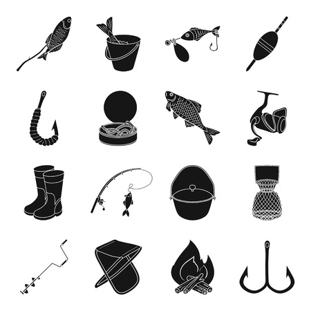 tincan: Fishing set icons in black style. Big collection of fishing vector symbol stock illustration