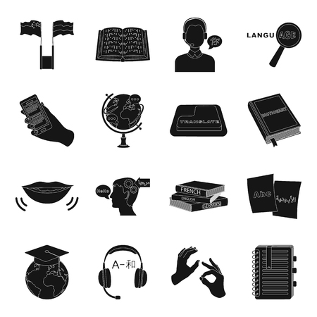 interpreter: Interpreter and translator set icons in black style. Big collection of interpreter and translator vector symbol stock illustration Illustration