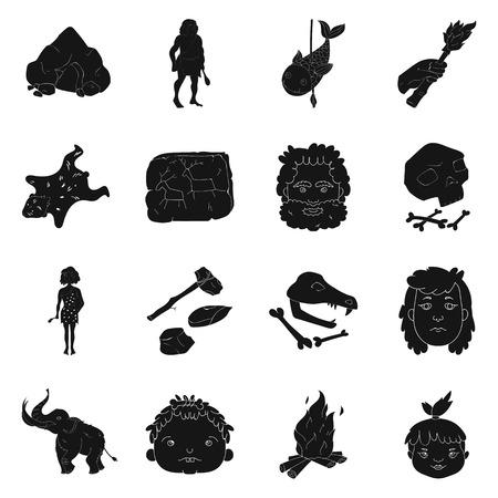 truncheon: Stone age set icons in black style. Big collection of stone age vector symbol stock illustration