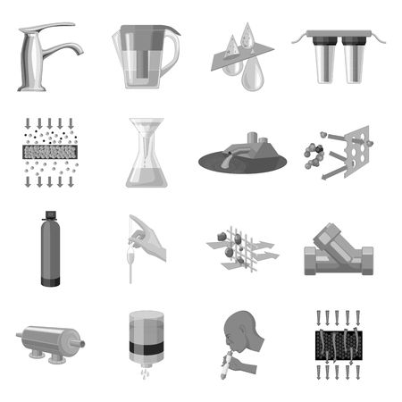 carbonic: Water filtration system set icons in monochrome style. Big collection of water filtration system vector symbol stock illustration