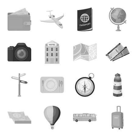 jorney: Rest and travel set icons in monochrome style. Big collection of rest and travel vector symbol stock illustration