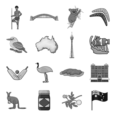 gray anemone: Australia set icons in monochrome style. Big collection of Australia vector symbol stock illustration