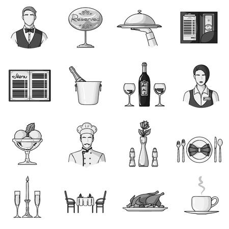 Restaurant set icons in monochrome style. Big collection of restaurant vector symbol stock illustration Vektorové ilustrace