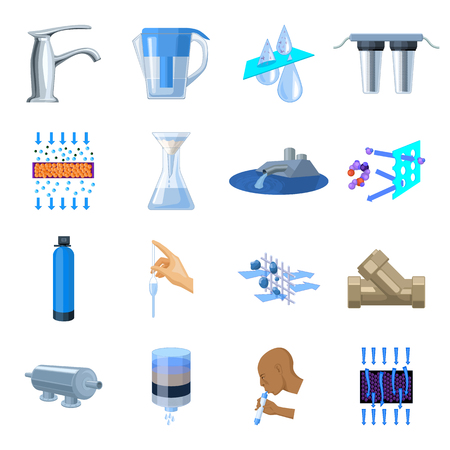 filtración: Water filtration system set icons in cartoon style. Big collection of water filtration system vector symbol stock illustration Vectores