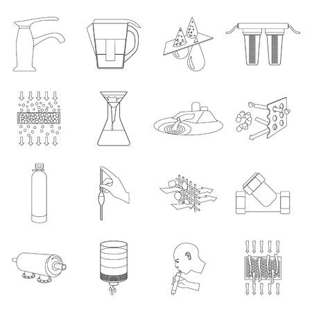 filtración: sistema de filtración de agua ajustado iconos de estilo de esquema. Gran colección de vector de filtración de agua del sistema de símbolos de la ilustración Vectores