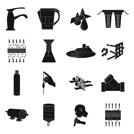 filtración: sistema de filtración de agua ajustado iconos de estilo negro. Gran colección de vector de filtración de agua del sistema de símbolos de la ilustración Vectores