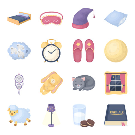 Sleep and rest set icons in cartoon style. Big collection of sleep and rest vector symbol stock illustration Illustration