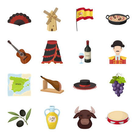 spanish bull: Spain country set icons in cartoon style. Big collection of Spain country vector symbol stock illustration