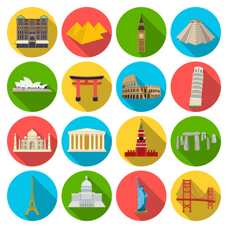 Countries set icons in flat style. Big collection of countries vector symbol stock illustration