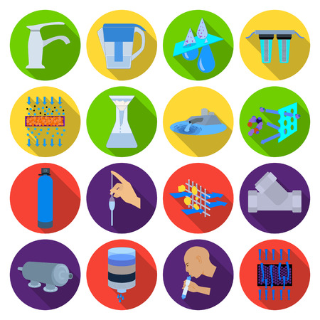 filtration: Water filtration system set icons in flat style. Big collection of water filtration system vector symbol stock illustration Illustration