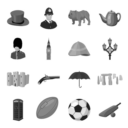 pith: England country set icons in monochrome style. Big collection of England country vector symbol stock illustration