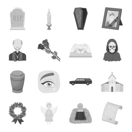 urns: Funeral ceremony set icons in monochrome style. Big collection of funeral ceremony vector symbol stock illustration