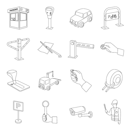 Parking zone set icons in outline style. Big collection of parking zone vector symbol stock illustration
