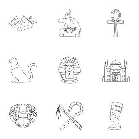 obelisk: Ancient Egypt set icons in outline style. Big collection of ancient Egypt vector symbol stock illustration