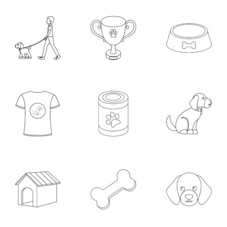 faeces: Dog equipment set icons in outline style. Big collection dog equipment vector symbol stock illustration