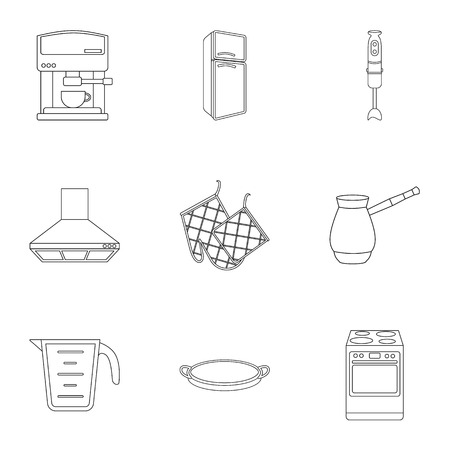 meat  grinder: Kitchen set icons in outline style. Big collection of kitchen vector symbol stock illustration Illustration