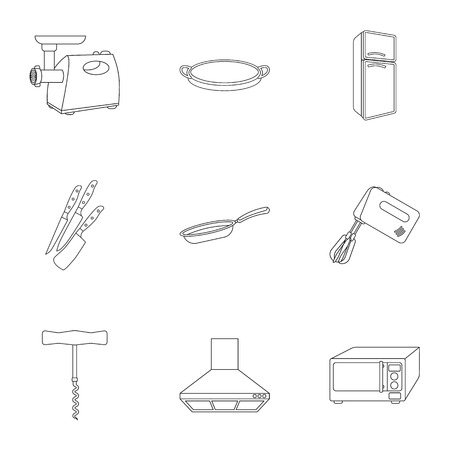stockpot: Kitchen set icons in outline style. Big collection of kitchen vector symbol stock illustration Illustration