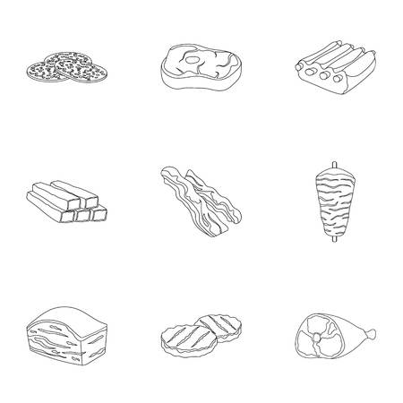 carnes: Meats set icons in outline style. Big collection of meats vector symbol stock illustration Vectores