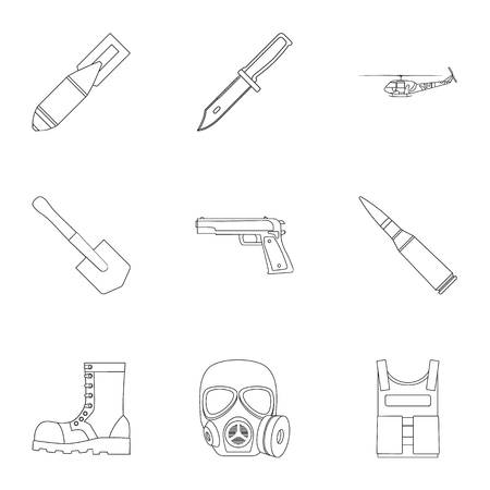 aerial bomb: Military and army set icons in outline design. Big collection of military and army vector symbol stock illustration Illustration