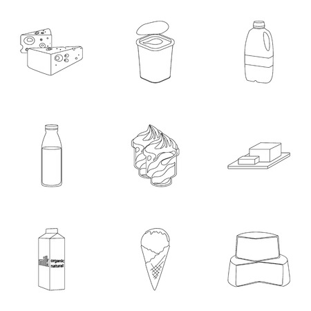 cutting board: Milk product and sweet set icons in outline design. Big collection of milk product and sweet vector symbol stock illustration Illustration