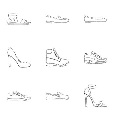 moccasin: Shoes set icons in outline style. Big collection of shoes vector symbol stock illustration Illustration