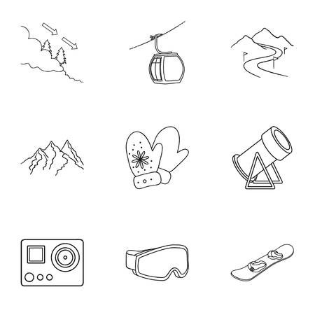 mountain pass: Ski resort set icons in outline style. Big collection of ski resort vector symbol stock illustration Illustration