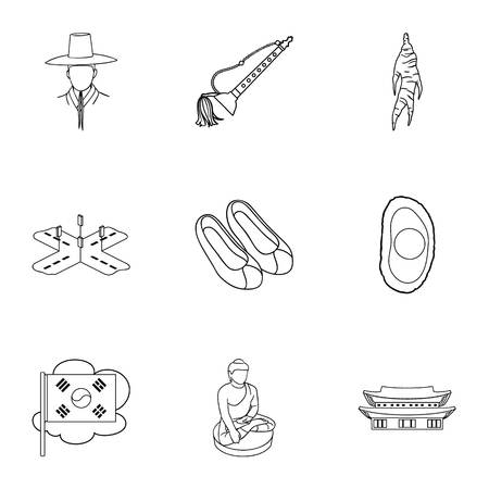 gat: South Korea set icons in outline style. Big collection of South Korea vector symbol stock illustration