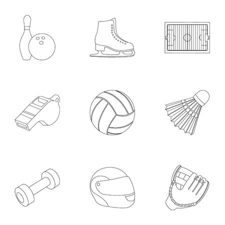 flippers: Sport and fitness set icons in outline style. Big collection of sport and fitness vector symbol stock illustration Illustration