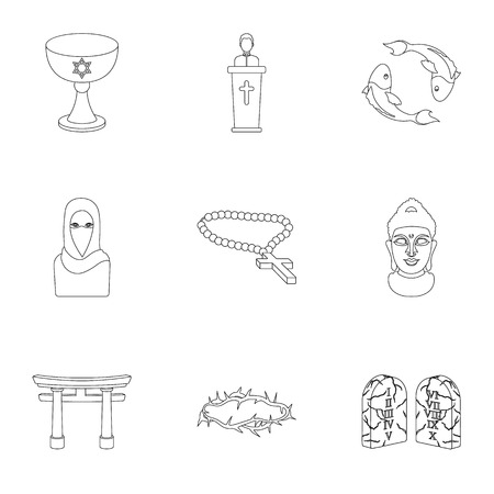 niqab: Religion set icons in outline style. Big collection of religion vector symbol stock illustration