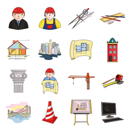 arquitecto caricatura: Architect set icons in cartoon style. Big collection of architect vector symbol stock illustration Vectores