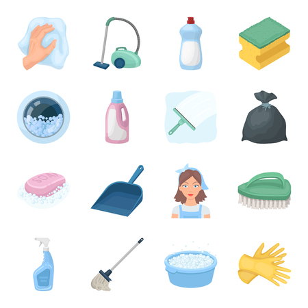 Cleaning set icons in cartoon style. Big collection of cleaning vector symbol stock illustration Çizim