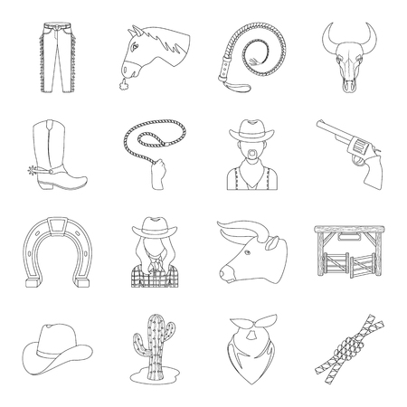 paddock: Rodeo set icons in outline style. Big collection of rodeo vector symbol stock illustration Illustration