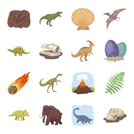 Dinosaurs and prehistoric set icons in cartoon style. Big collection of dinosaurs and prehistoric vector symbol stock illustration
