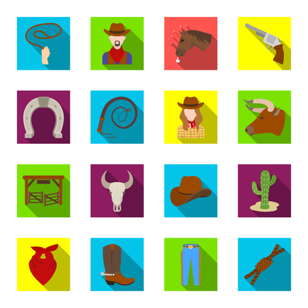 Rodeo set icons in flat style. Big collection of rodeo vector symbol stock illustration
