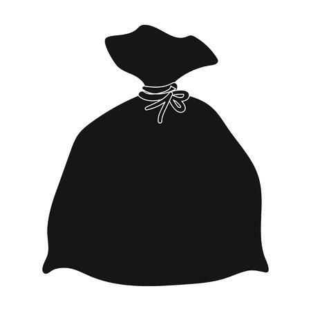 Icona della borsa di immondizia in stile nero isolato su priorità bassa bianca. Pulizia simbolo illustrazione stock vettoriale.