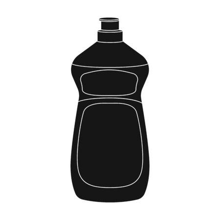lavar platos: Dishwashing soap icon in black style isolated on white background. Cleaning symbol stock vector illustration.
