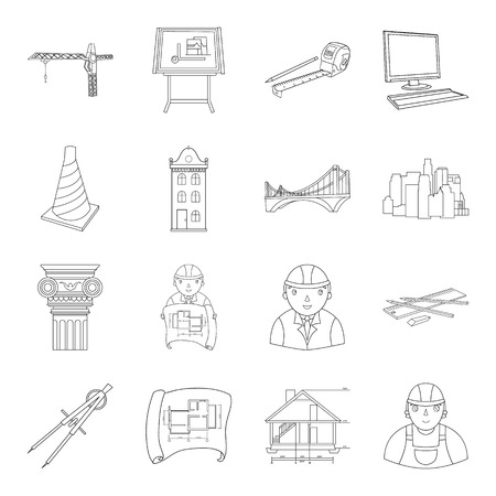 Architect set icons in outline style. Big collection of architect vector symbol stock illustration