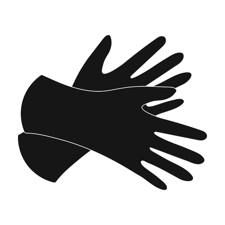on duty: Rubber gloves icon in black style isolated on white background. Cleaning symbol stock vector illustration. Illustration