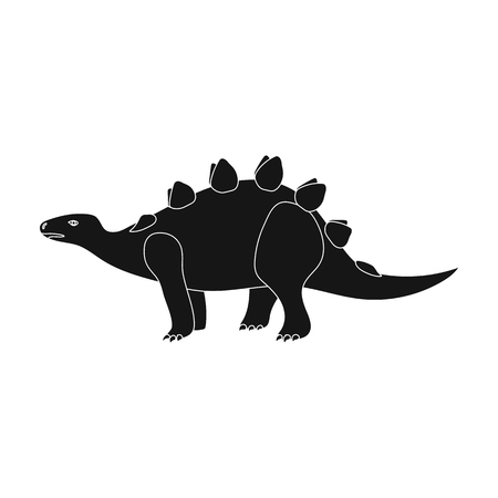 cretaceous: Dinosaur Stegosaurus icon in black style isolated on white background. Dinosaurs and prehistoric symbol stock vector illustration.