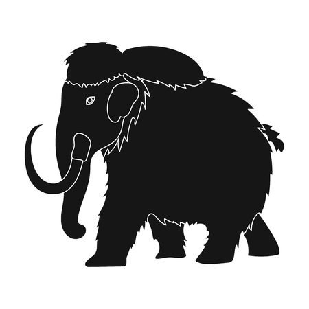 Mammoth icon in black style isolated on white background. Dinosaurs and prehistoric symbol stock vector illustration.