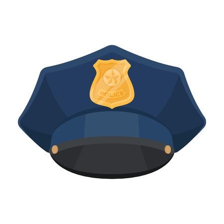 Policía icono de tapa en estilo de dibujos animados aislado sobre fondo blanco. Símbolo de la policía ilustración vectorial stock.