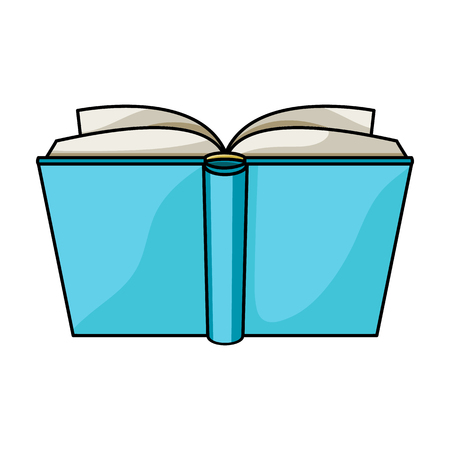 read magazine: Blue opened book icon in cartoon style isolated on white background. Books symbol stock vector illustration.