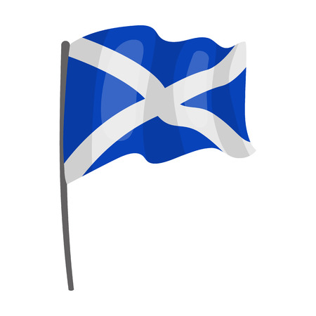Flag of Scotland icon in cartoon style isolated on white background. Scotland country symbol stock vector illustration.
