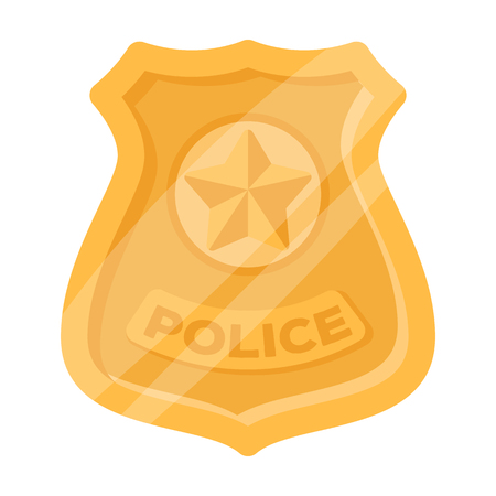 Police badge icon in cartoon style isolated on white background. Police symbol stock vector illustration. Illustration